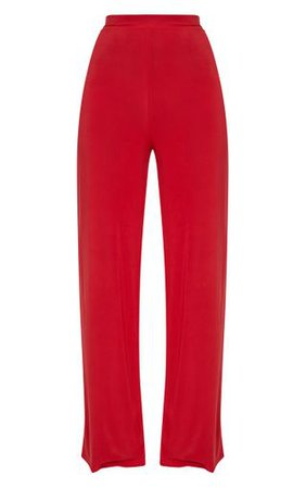 Red Slinky Wide Leg Trousers | Trousers | PrettyLittleThing