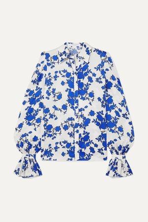 CAROLINA HERRERA, Floral-print satin blouse