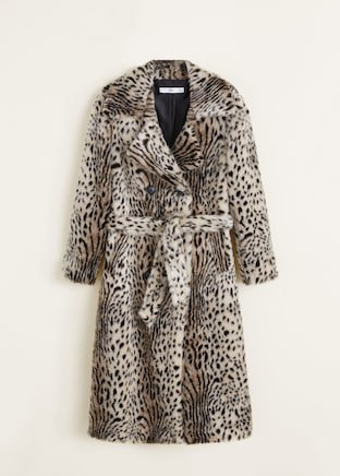 Leopard faux-fur coat - Women | MANGO USA
