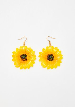 Sunflower Drop Hook Back Earrings Yellow | Dolls Kill