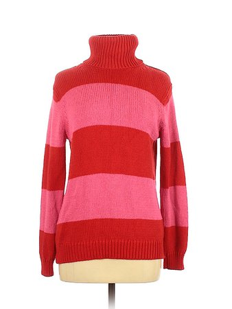Isaac Mizrahi Striped Red Turtleneck Sweater Size M - 75% off | thredUP