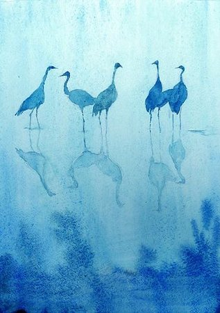 monochrome watercolor birds