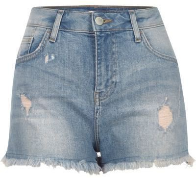 River Island Womens Mid blue wash distressed denim shorts