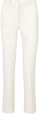 Cropped Cotton-blend Slim-leg Pants - White
