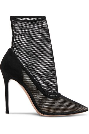 Gianvito Rossi | 105 mesh and suede sock boots | NET-A-PORTER.COM
