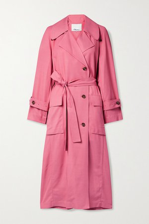 Flou Belted Double-breasted Twill Trench Coat - Pink