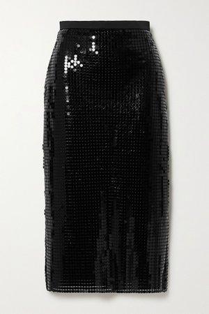 Black Satin-trimmed chainmail midi skirt | Christopher Kane | NET-A-PORTER