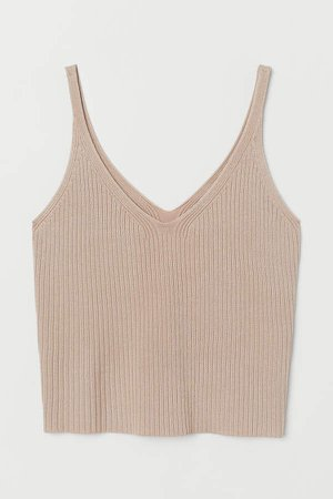Ribbed Camisole Top - Beige
