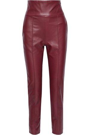 Burgundy Leather slim-leg pants | ALEXANDRE VAUTHIER