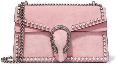 Dionysus Crystal-embellished Suede Shoulder Bag - Pink