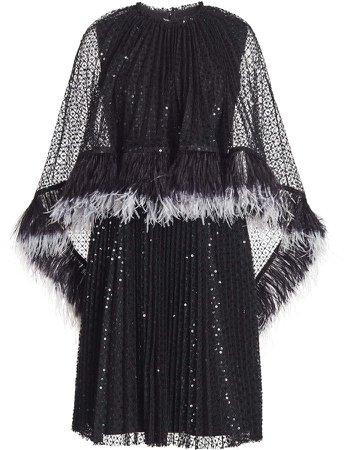 Huishan Zhang Dora Embellished Lace Caped Dress