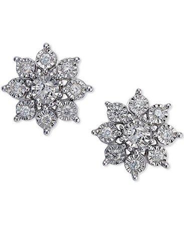Macy's Diamond Flower Earrings (1/2 ct. t.w.)in 10k White Gold & Reviews - Earrings - Jewelry & Watches - Macy's