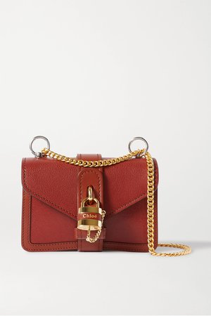 Brown Aby Chain mini textured-leather shoulder bag | Chloé | NET-A-PORTER