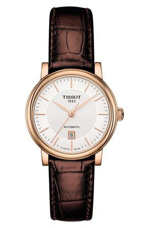 Tissot Premium Carson Automatic Leather Strap Watch, 30mm | Nordstrom