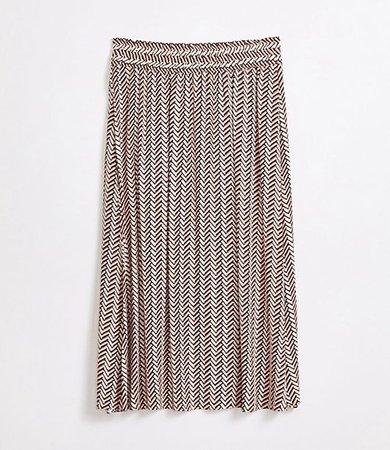 Petite Chevron Pull On Midi Skirt