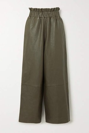 Leather Wide-leg Pants - Army green