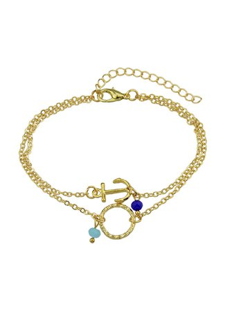 Gold Multi Layers Chain With Anchor Round Shape Charm And Beads Bracelets