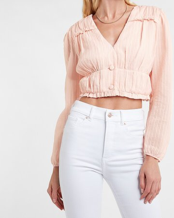 Textured Ruffle Button Front Cropped Top