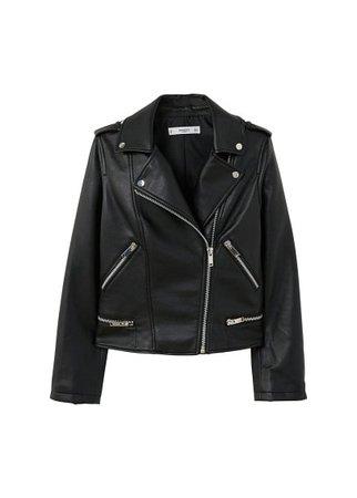 MANGO Appliqué biker jacket