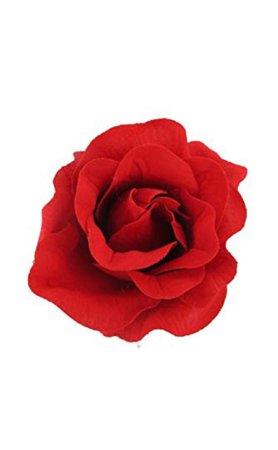 red flower rose hair piece