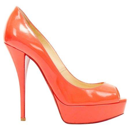 CHRISTIAN LOUBOUTIN Lady Peep 150 neon pink patent peep toe platform pump EU37.5 For Sale at 1stDibs