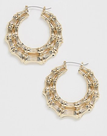 Missguided chunky bamboo hoop earrings in gold | ASOS