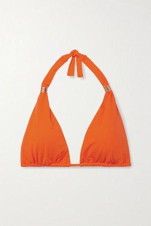 Grenada Embellished Triangle Bikini Top - Bright orange