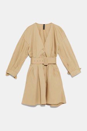 Camel Dress With Belt | Zara