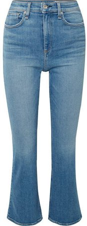 Nina Cropped High-rise Flared Jeans - Mid denim
