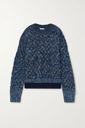 Navy Cable-knit mélange wool-blend sweater | Chloé | NET-A-PORTER
