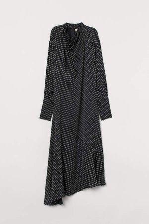 Dress with Draped Collar - Black