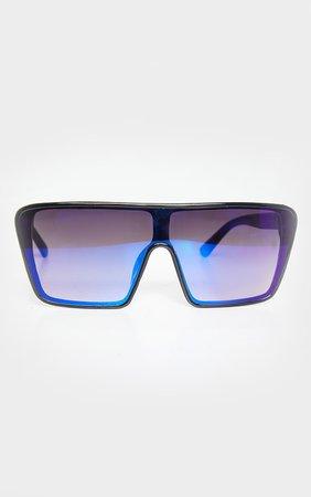 Blue Oversized Squareframe Sunglasses | PrettyLittleThing USA
