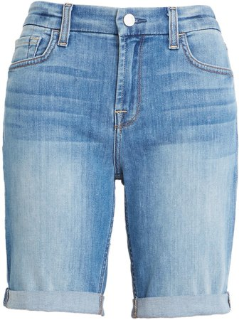 High Waist Denim Bermuda Shorts