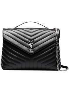 SAINT LAURENT Large black LouLou quilted shoulder bag