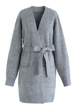 Belted Pockets Open Front Knit Cardigan in Grey - NEW ARRIVALS - Retro, Indie and Unique Fashion