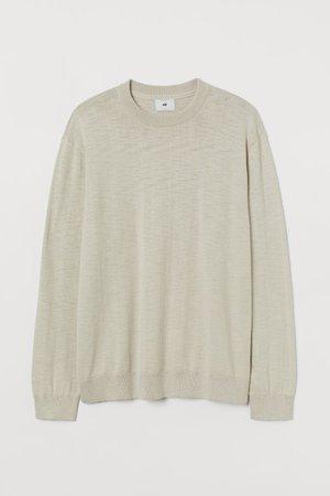 Slub-knit jumper - Light beige - Men | H&M GB