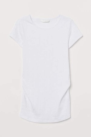 MAMA Ribbed Cotton Top - White