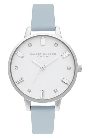 Olivia Burton Bejewelled Faux Leather Strap Watch, 34mm | Nordstrom
