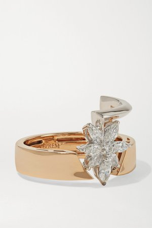 YEPREM 18-karat rose and white gold diamond ring