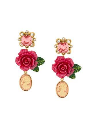 Dolce & Gabbana Cameo Crystal Rose Drop Earrings - Farfetch