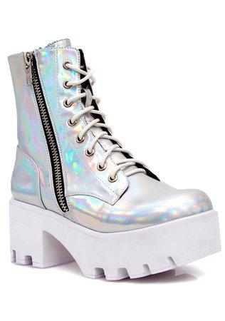 Current Mood Chiller Holographic Platform Boots | Dolls Kill