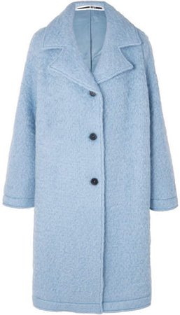 Oversized Wool-blend Bouclé Coat - Sky blue