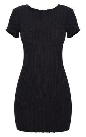 Black Frill Scoop Back Short Sleeve Bodycon Dress   PrettyLittleThing