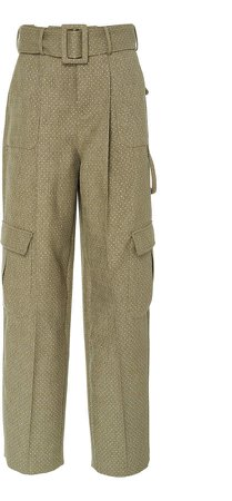 Belted Printed Twill Cargo Pants