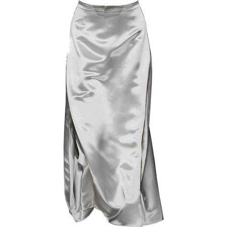 grey silk midi skirt