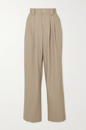 Beige Pleated shell wide-leg pants | Rains | NET-A-PORTER