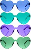 Amazon.com: Armear Candy Colored Lens Rimless Heart Shaped Sunglasses for Women Girls Colorful Shades Blue, 65mm: Clothing