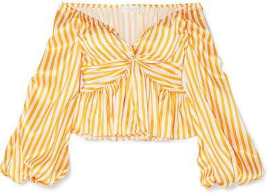 Onira Off-the-shoulder Striped Silk-satin Blouse - Orange
