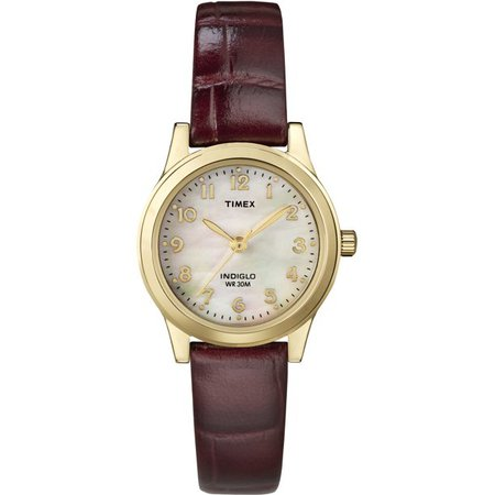 Timex - Timex Women's Essex Avenue Burgundy Leather Strap Watch - Walmart.com - Walmart.com