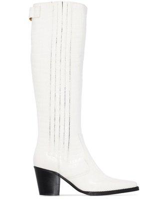 GANNI Western 60mm croc-effect knee-high Boots - Farfetch